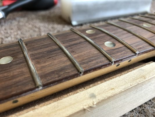 Fret installed and roughly levelled
