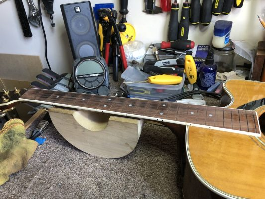 Frets removed, board levelled