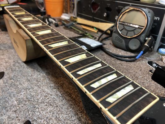 Frets cleaned the board is now ready for attention