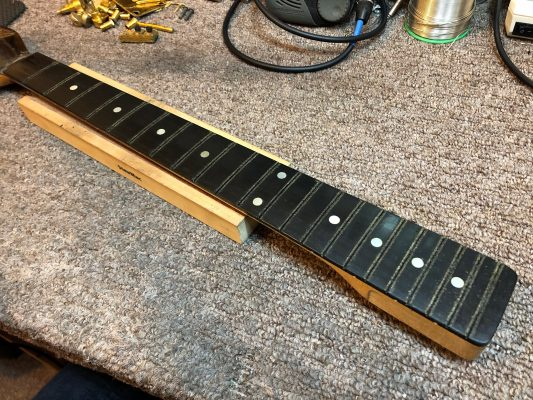 Fretboard ready to be levelled