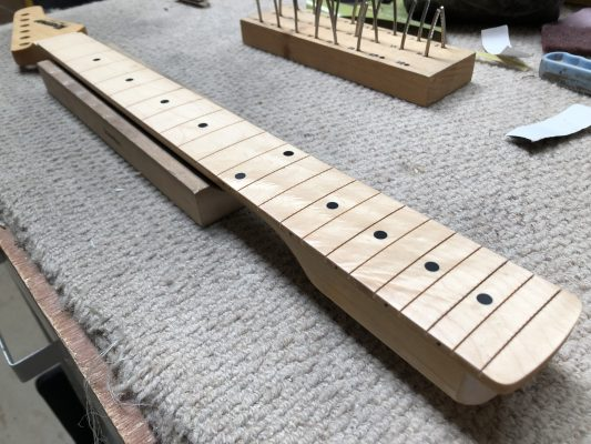 Frets pulled, board levelled