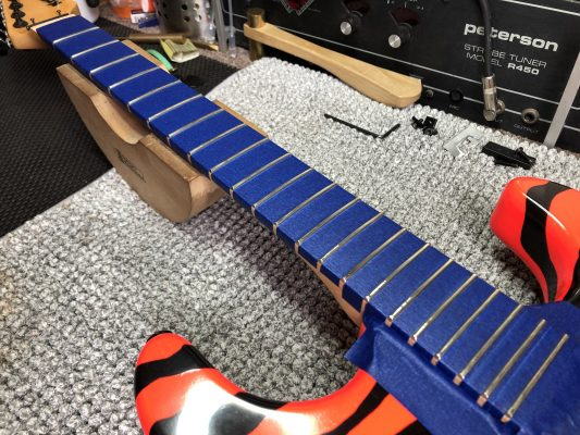 High fret levelled ready to be dressed and polished