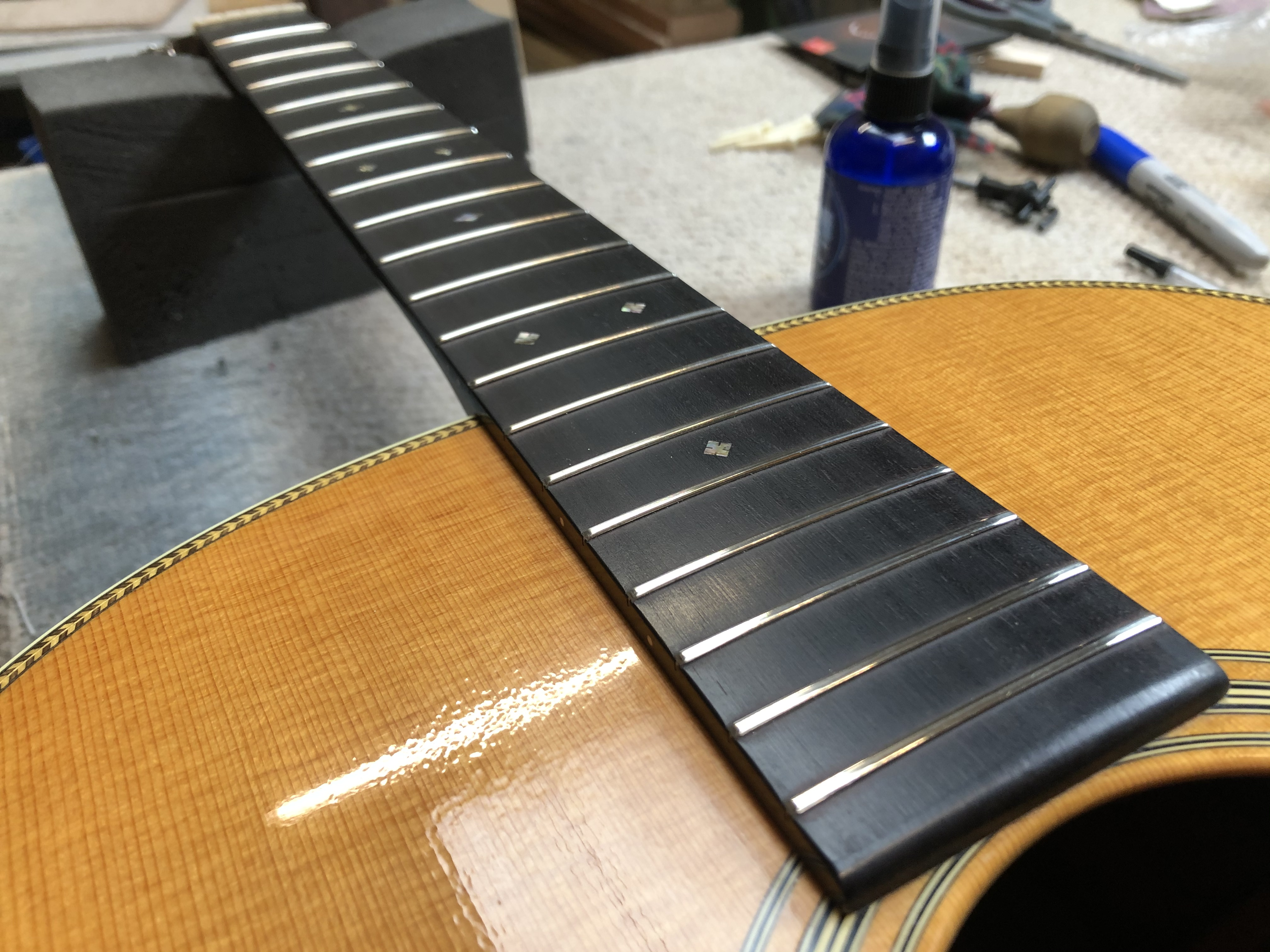 Fret Level + Setup on Martin D28VS
